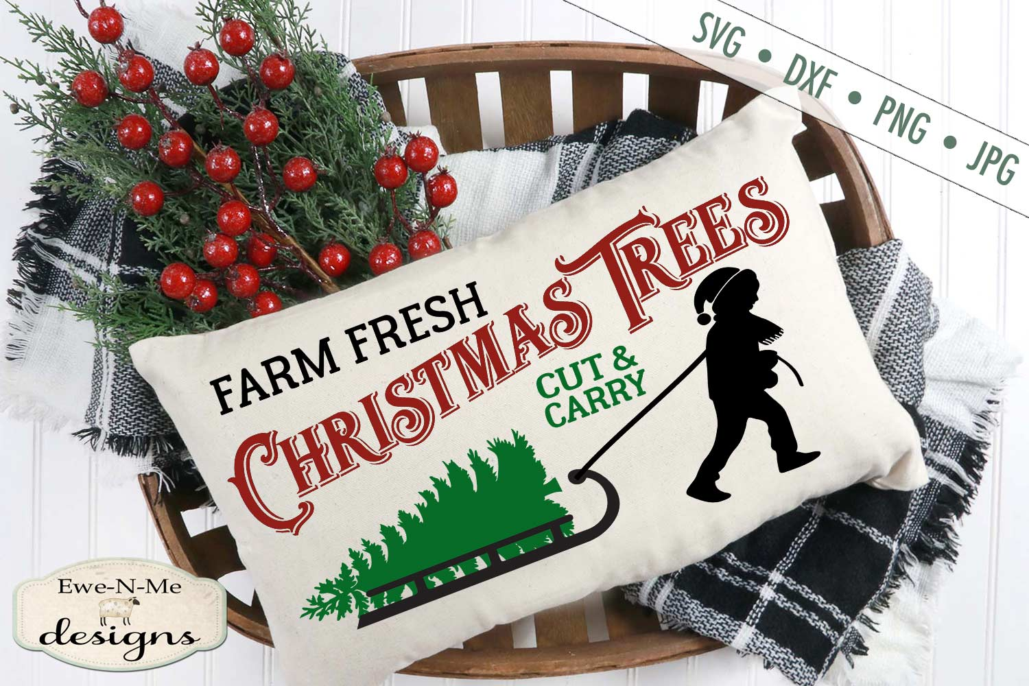 Christmas Trees Boy Pulling Sled SVG DXF Files example image 3