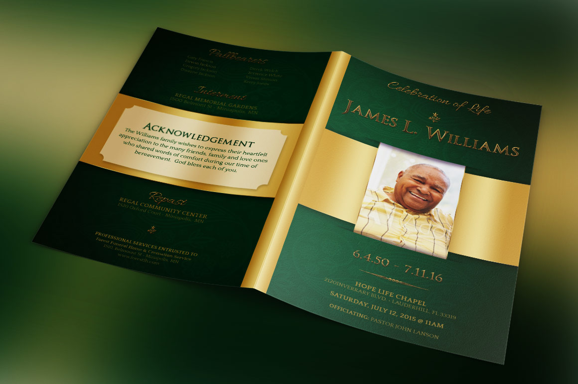 Green Regal Funeral Program Template example image 1