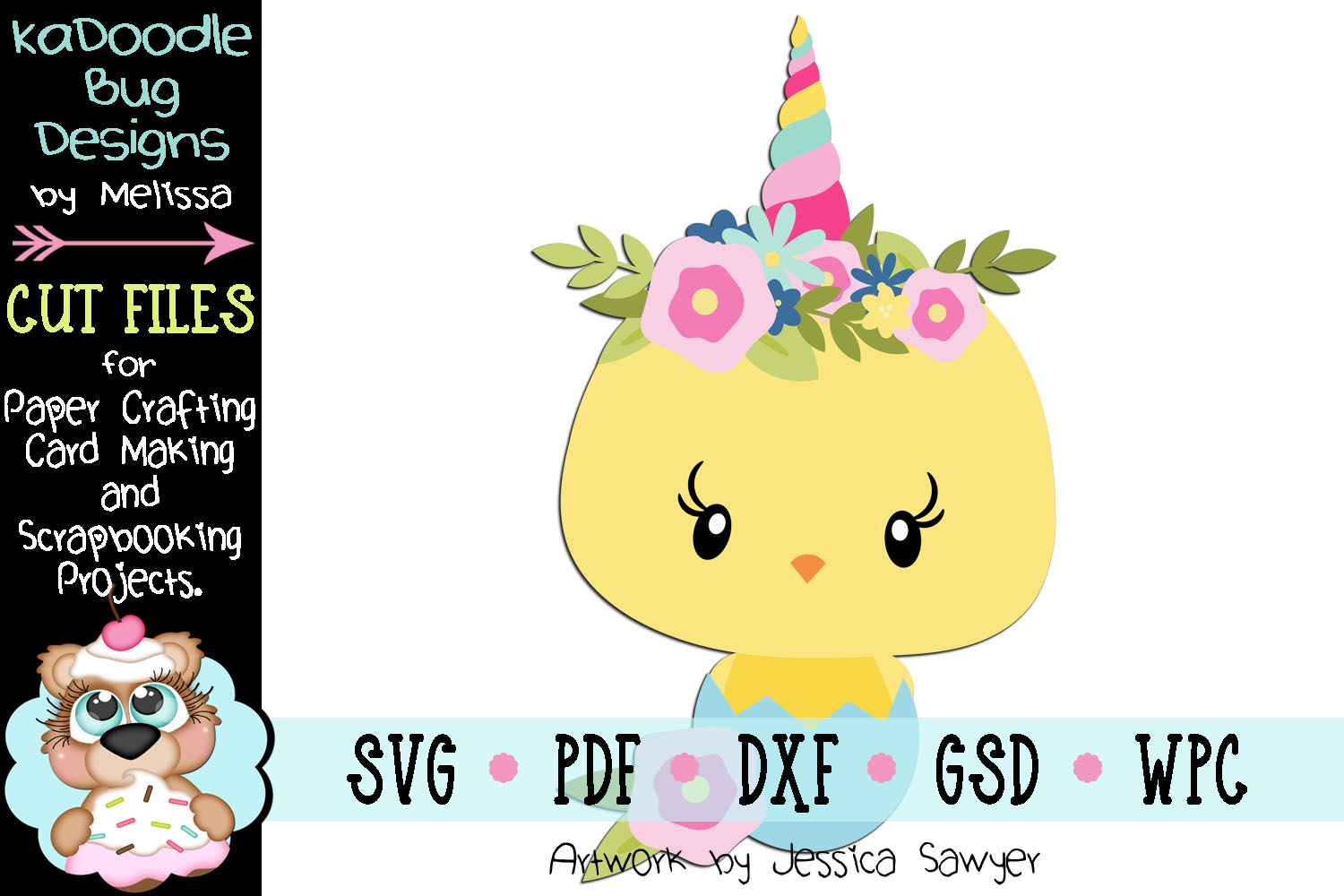 Spring Unicorn Chick Cut File - SVG PDF DXF GSD example image 1