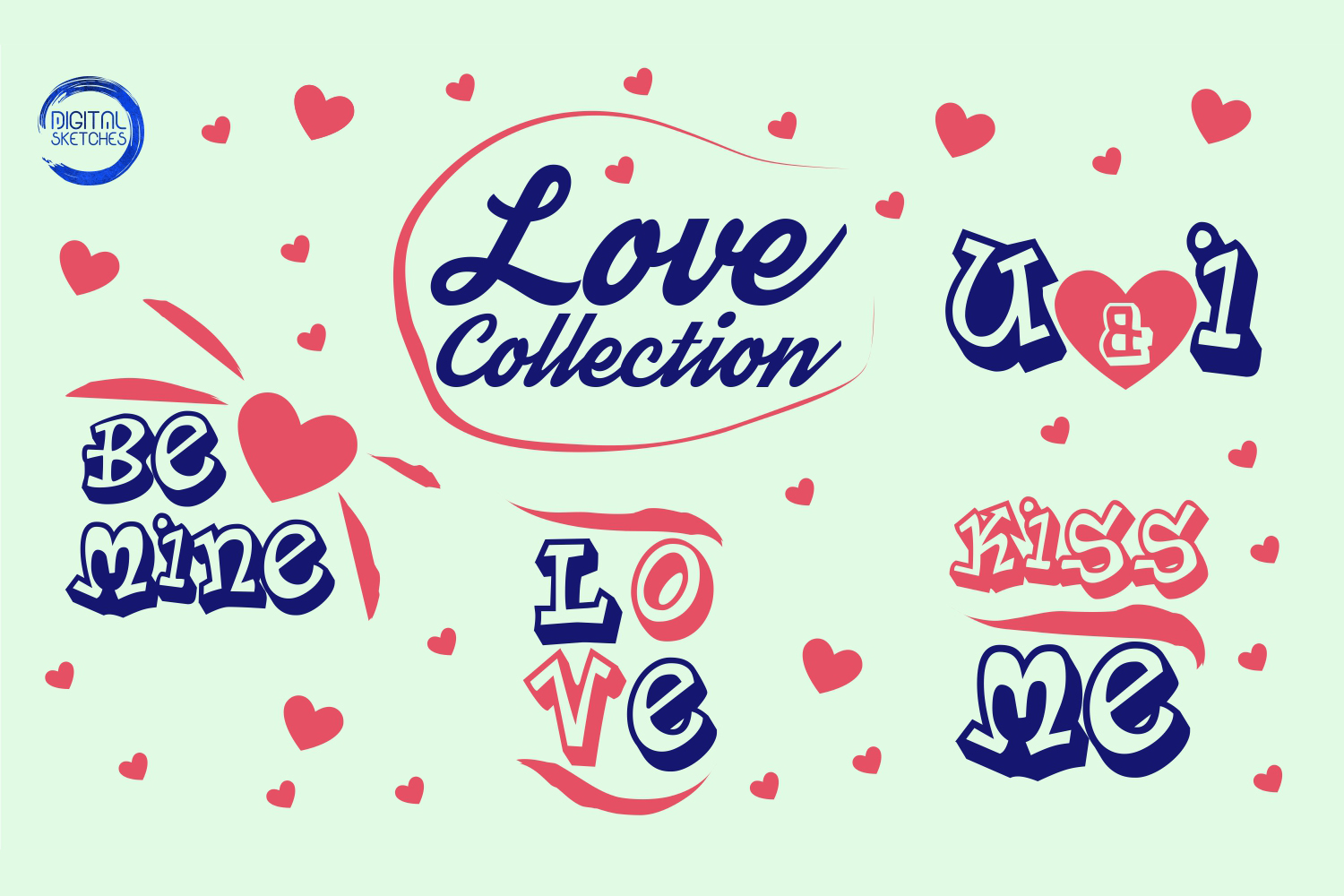Love Sayings Quote Collection Kiss Cut File Vector Graphics example image 2