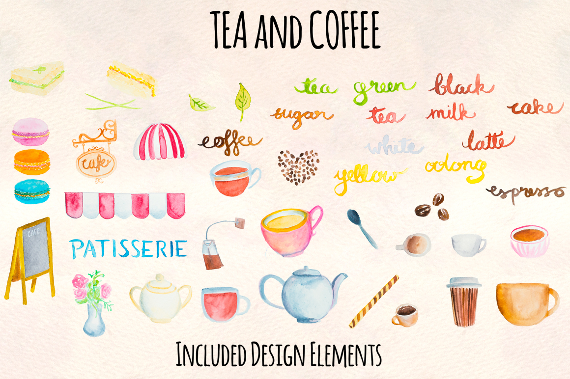 40 Tea and Coffee Watercolor Cafe Paintings example image 2