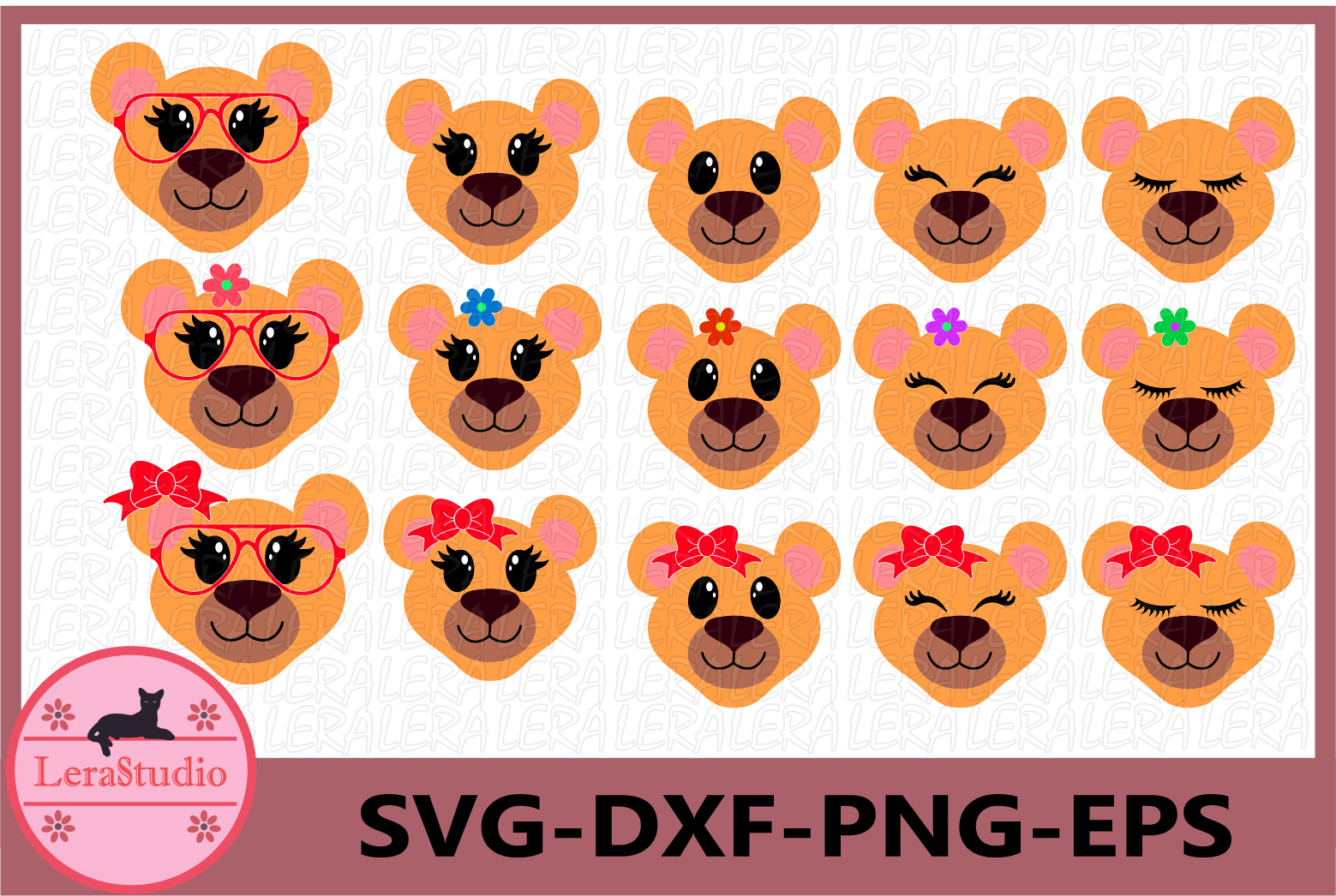 Lioness SVG, Animal face svg, Lioness Eyelashes Face,Lioness example image 1
