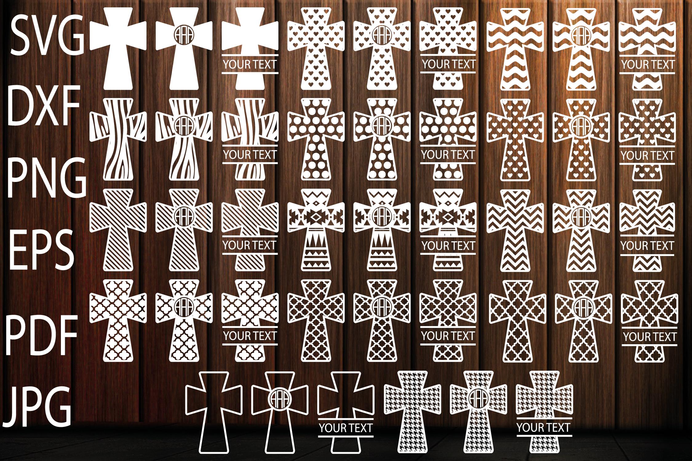 Patterned Cross SVG, Christian Svg Files, Cross Monogram SVG example image 1