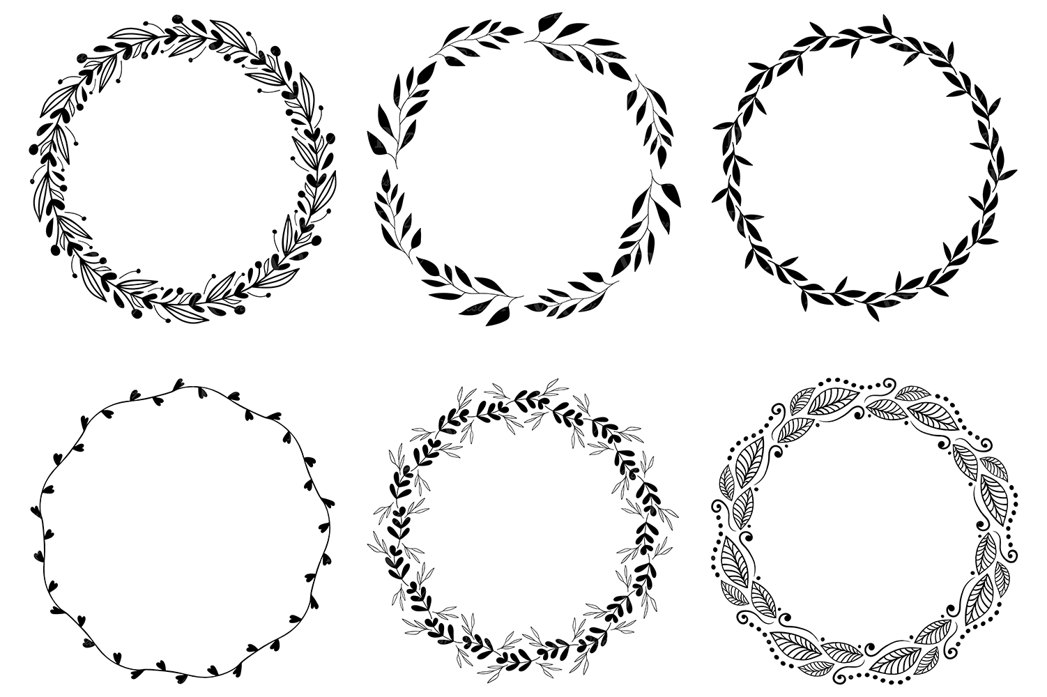 Wreaths Clipart, Hand drawn black design elements, Digital wreath, laurels, leaves and branches, Wedding clipart, Vector example image 3