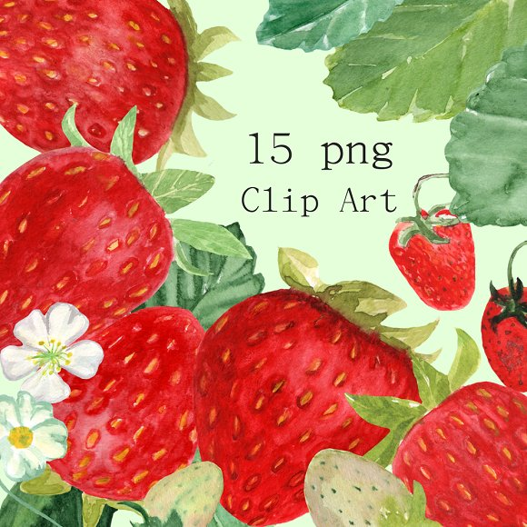 15 Watercolor Strawberries Clip Art example image 1