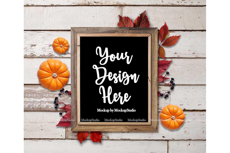 Fall Frame Mockup Bundle, Halloween Wood Sign Mock Up Set example image 2