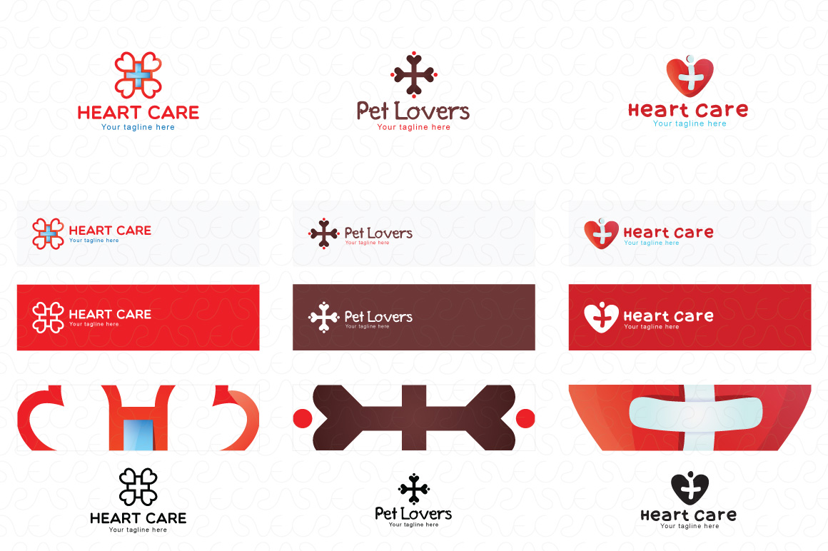 Heart Shape & Love Symbol Logo Templates Pack of 32 example image 9