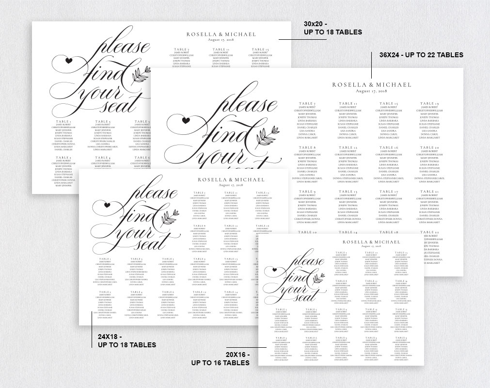 wedding seating chart sign, TOS_11 example image 2