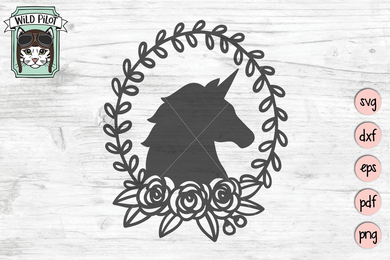 Unicorn SVG file, Unicorn Silhouette, Unicorn Wreath