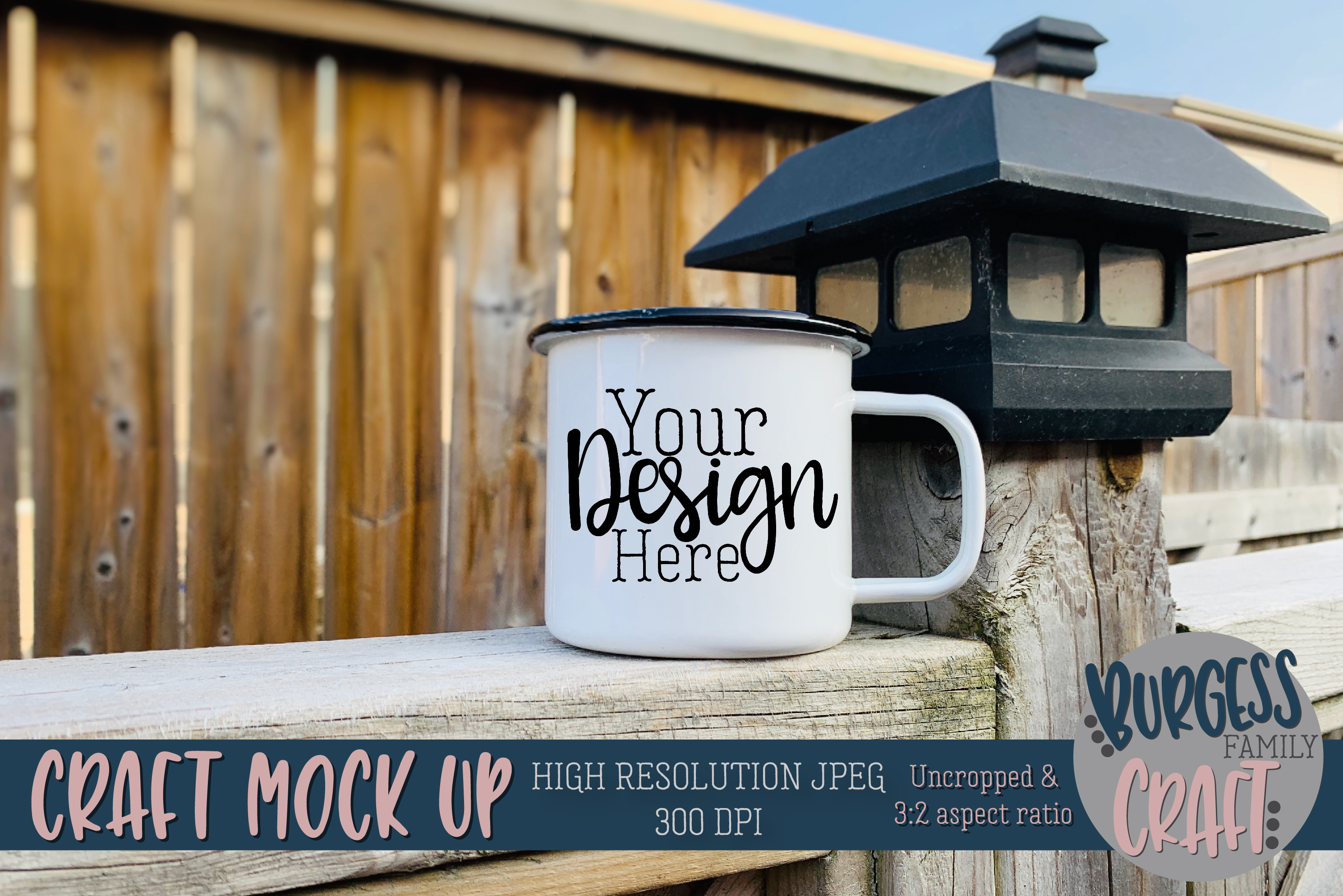 Mug on fence Craft mock up|High Resolution JPEG example image 1