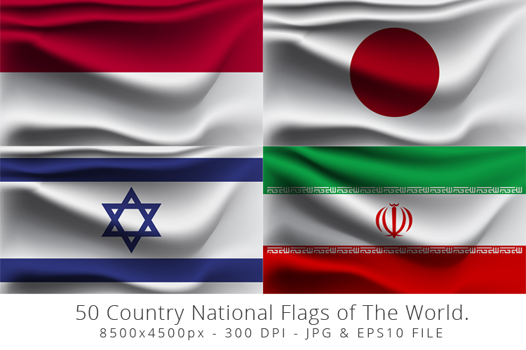 Realistic waving 50 Country National Flags of The World. example image 7
