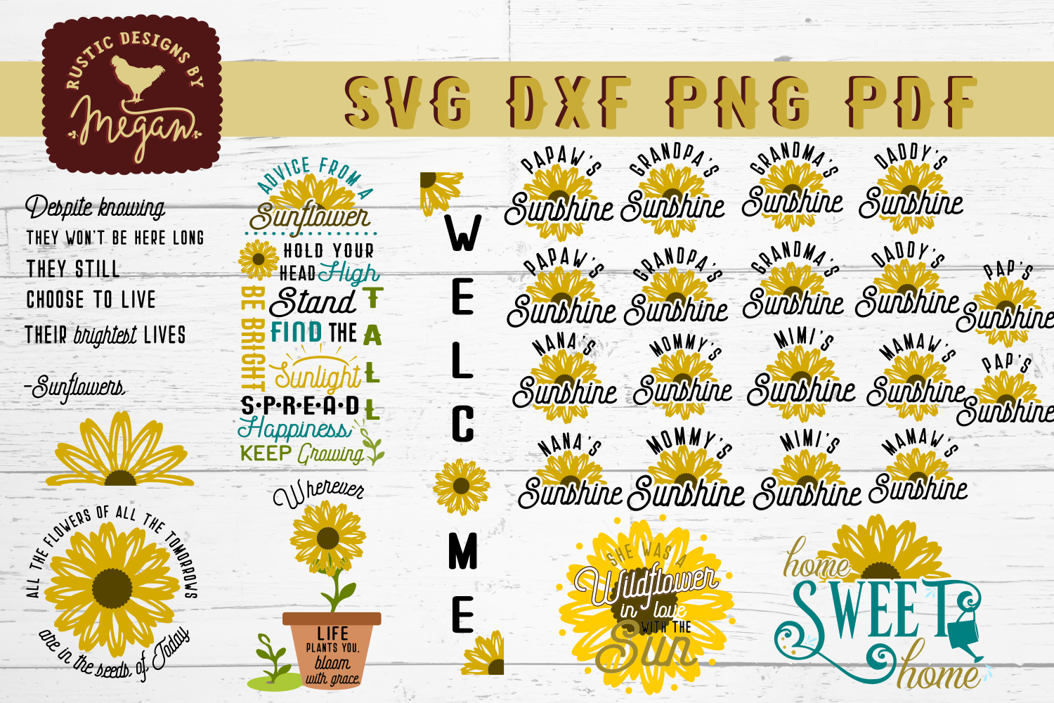 Sunflower SVG DXF Bundle Cut Files example image 1