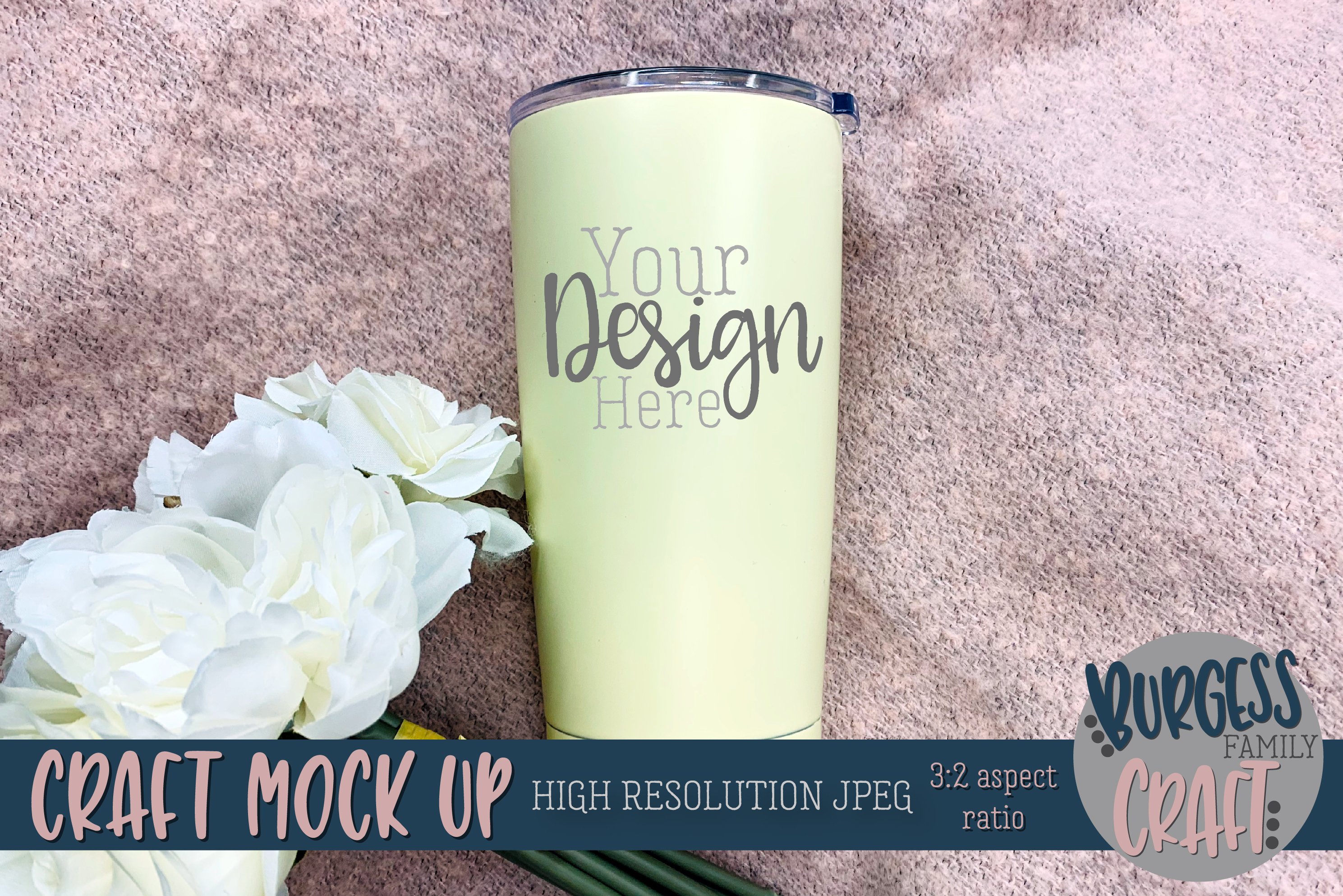 Stainless steel tumbler pretty Craft mock up |High Res JPEG example image 1