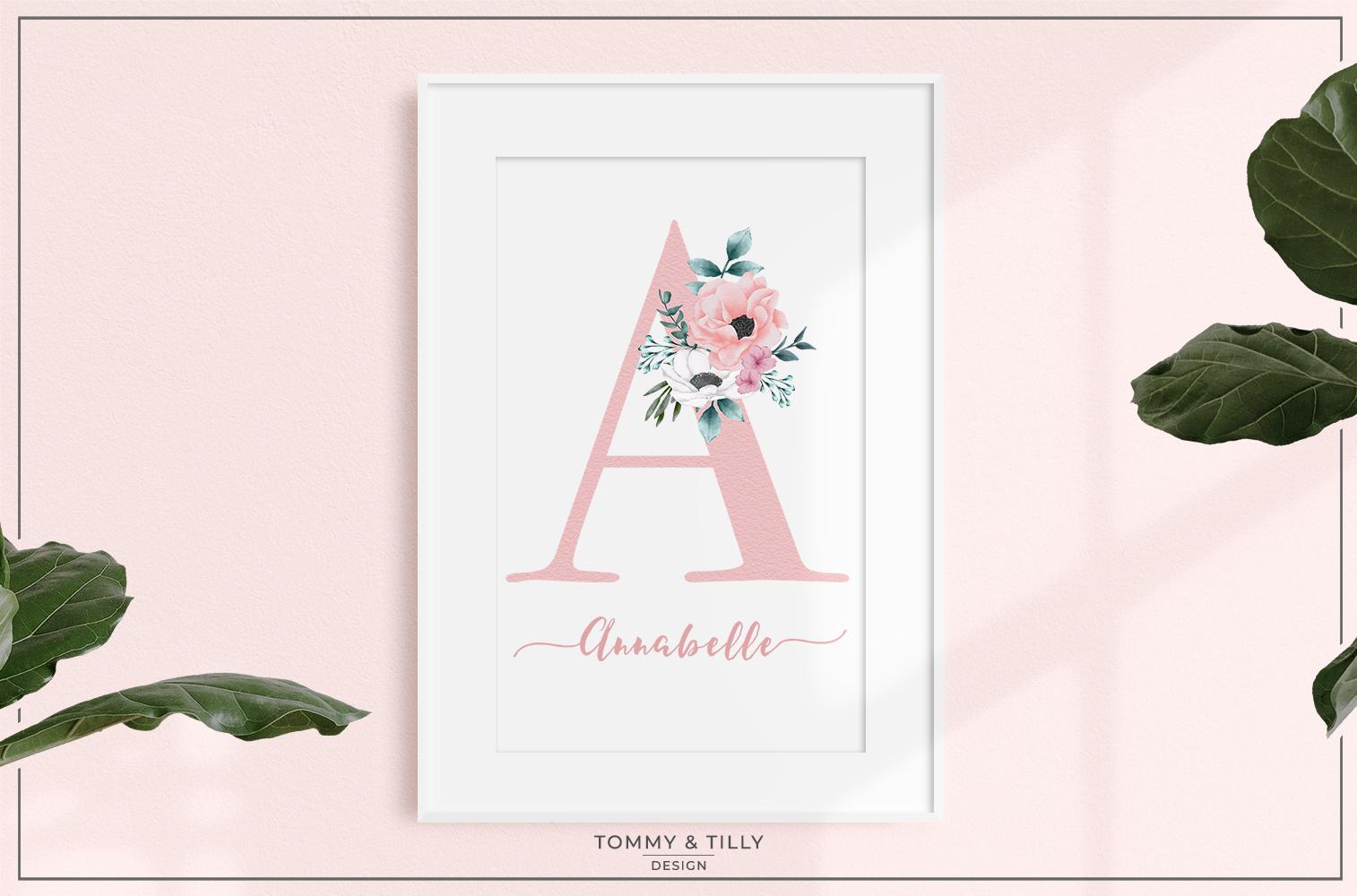 Watercolour Summer Flower Alphabet - Wedding Clipart example image 4