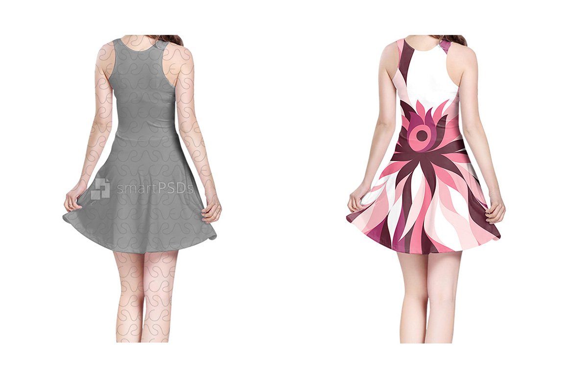 Feminine Sleeveless Dress Design Mockup of Sublimation Cloth Printing - 4 Views example image 2