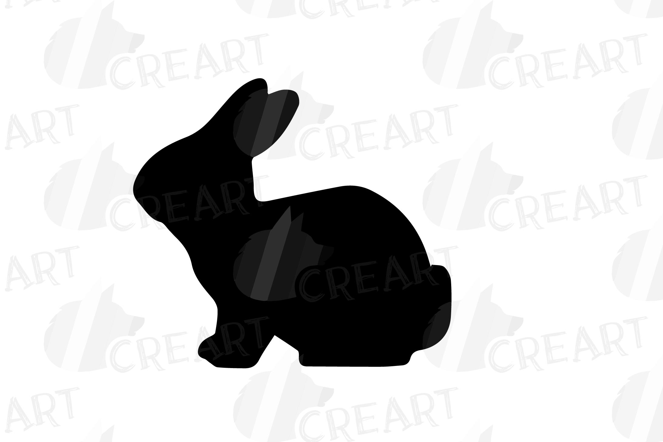 Rabbit family silhouettes, bunny silhouette svg cutting file example image 15