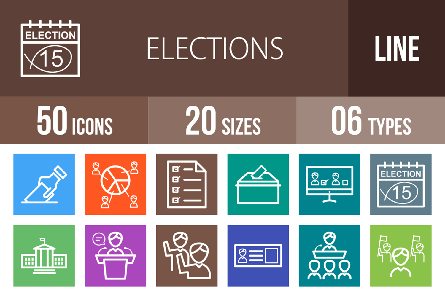 50 Elections Line Multicolor B/G Icons example image 1