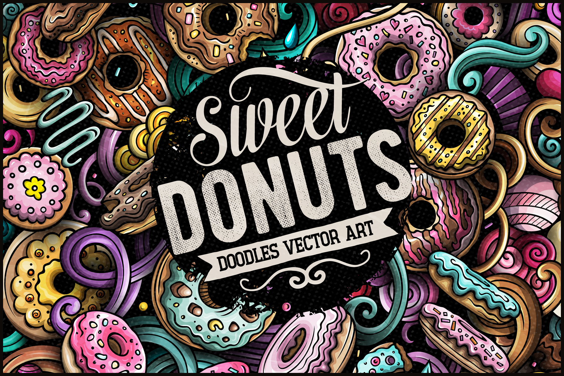 Donuts Vector Doodle Illustration example image 1