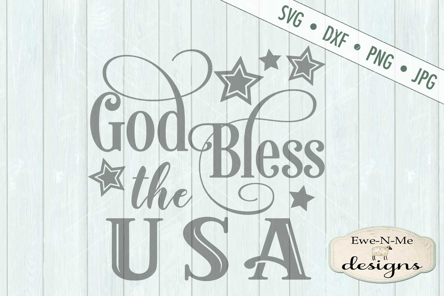 God Bless The USA SVG DXF Files example image 2