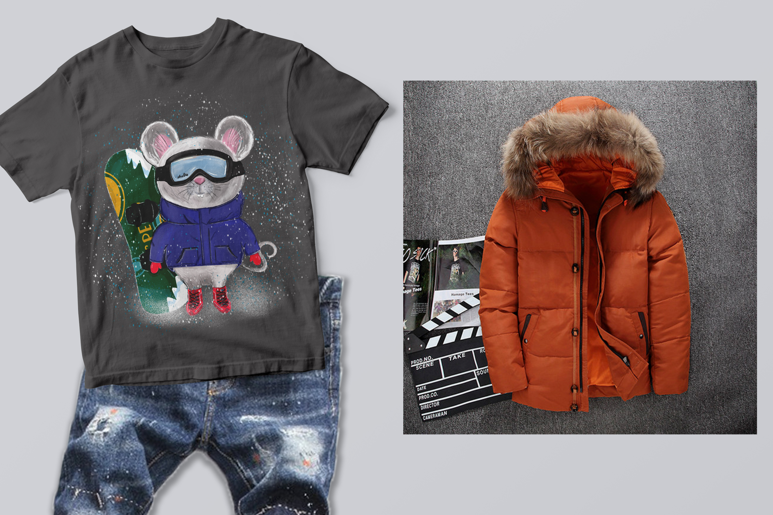 Rat boy and rat girl snowboarder clip art example image 3