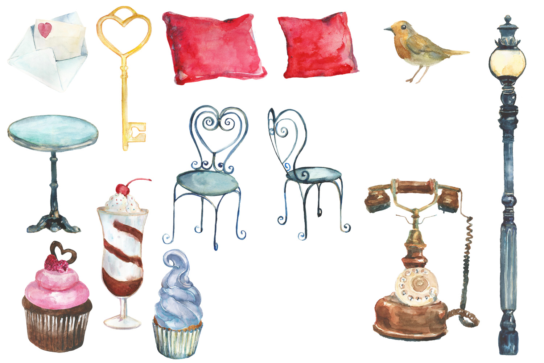 Watercolor Parisian cafe clip art example image 3