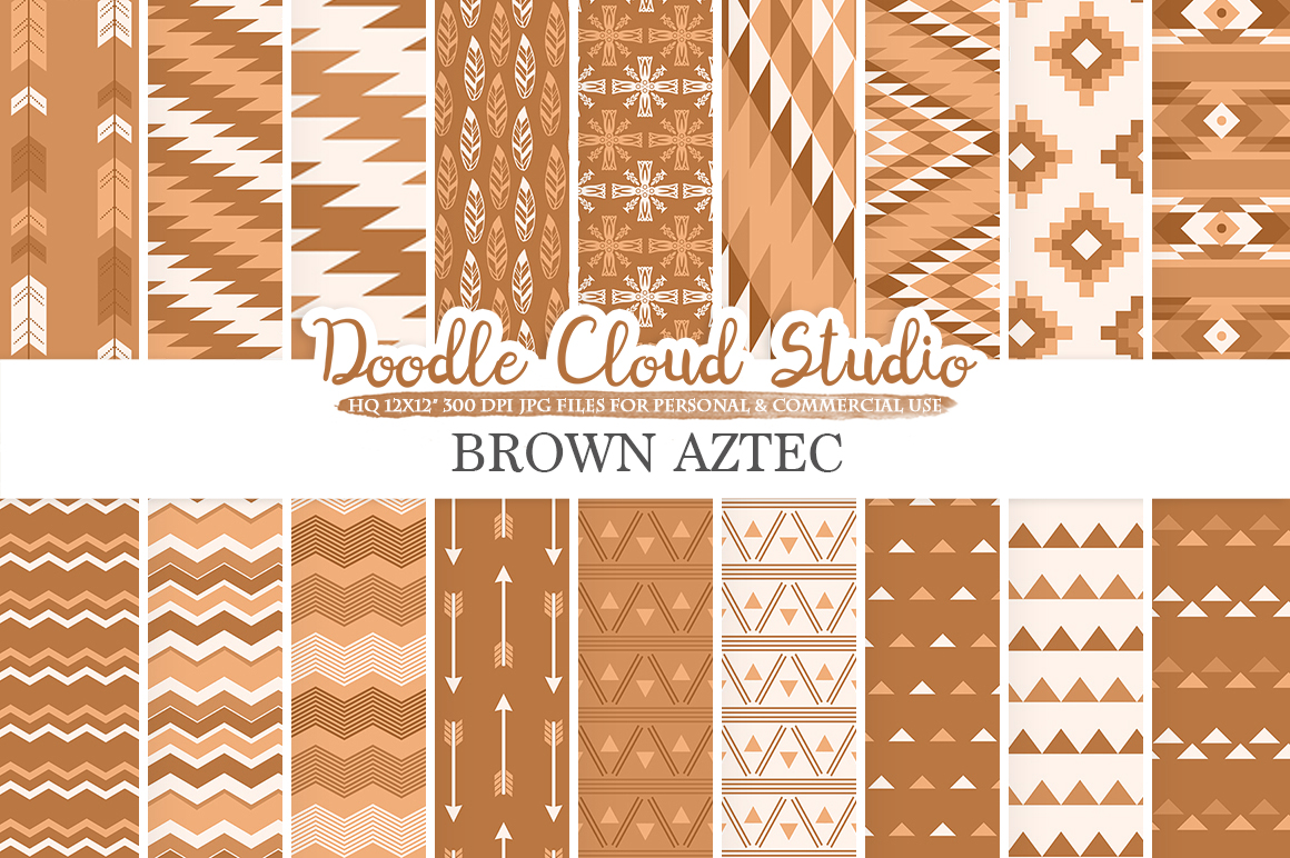 Brown Aztec digital paper Tribal patterns native triangles geometric ethnic arrows background Instant Download for Personal & Commercial Use example image 1