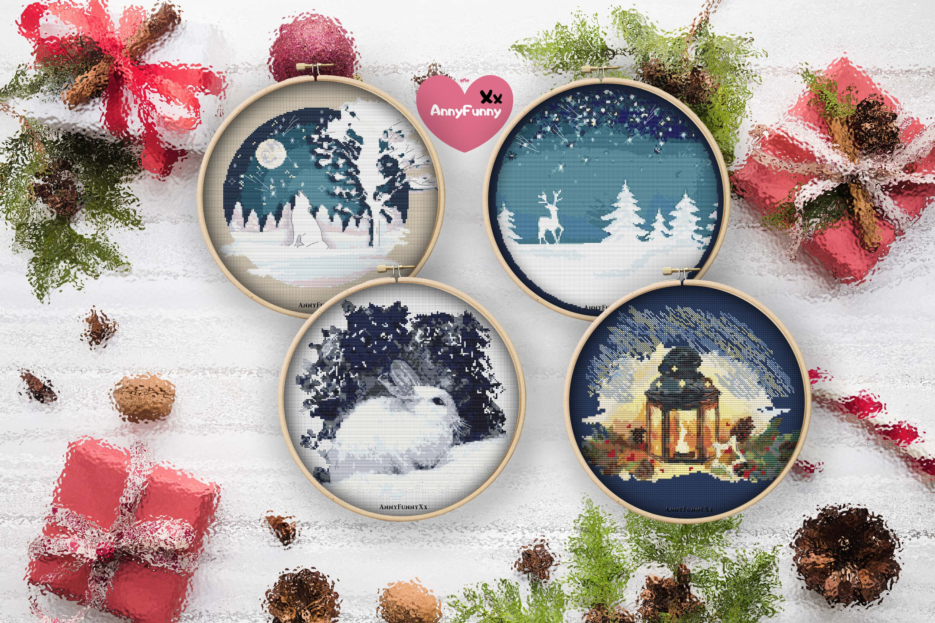 Cross stitch pattern christmas vacation Set example image 1