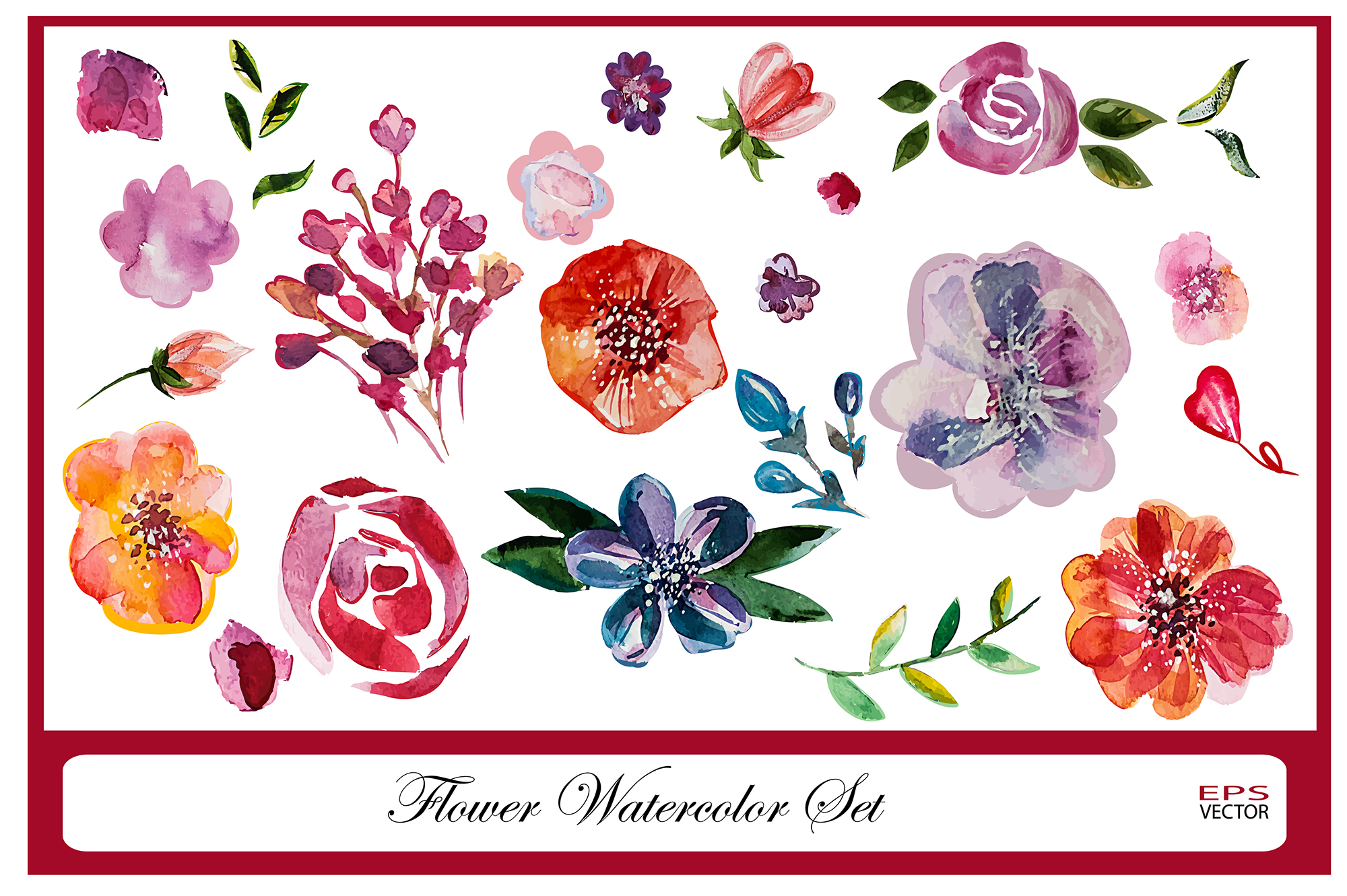 Watercolor flowers set example image 1