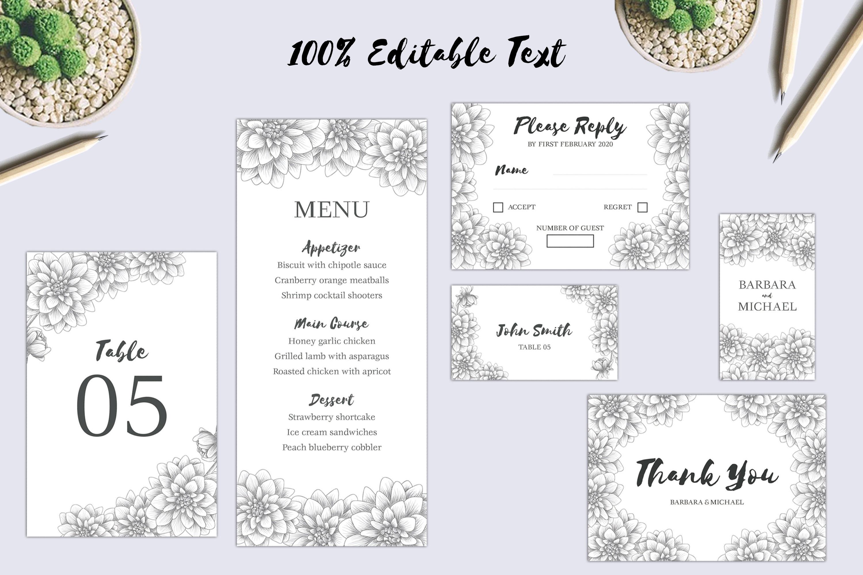 Dahlia Sketch Flower Wedding Invitation Bundle example image 3