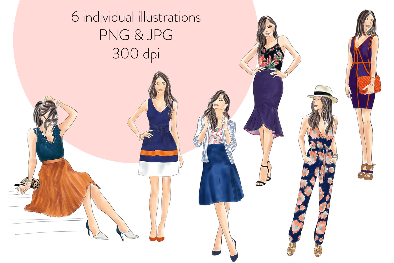 Fashion illustration clipart - fashion Girls - Volume 4 example image 2
