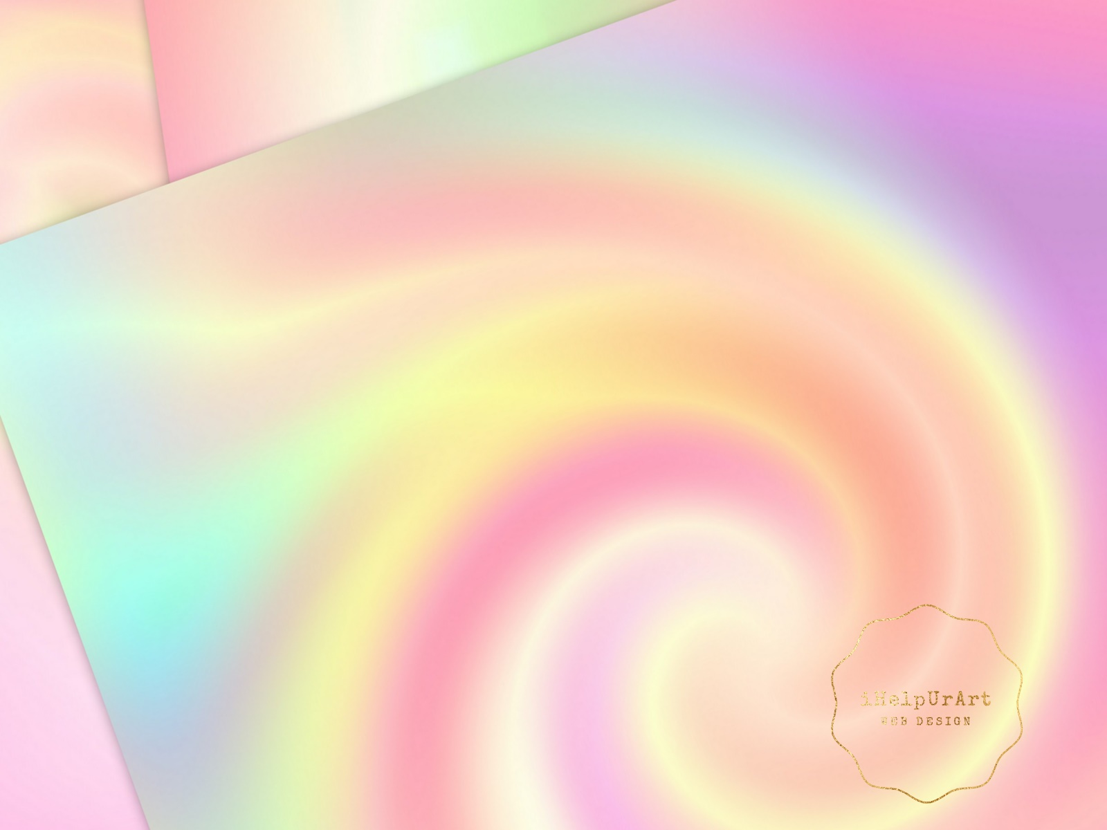 Pastel Rainbow Papers - Holographic Digital Paper example image 2