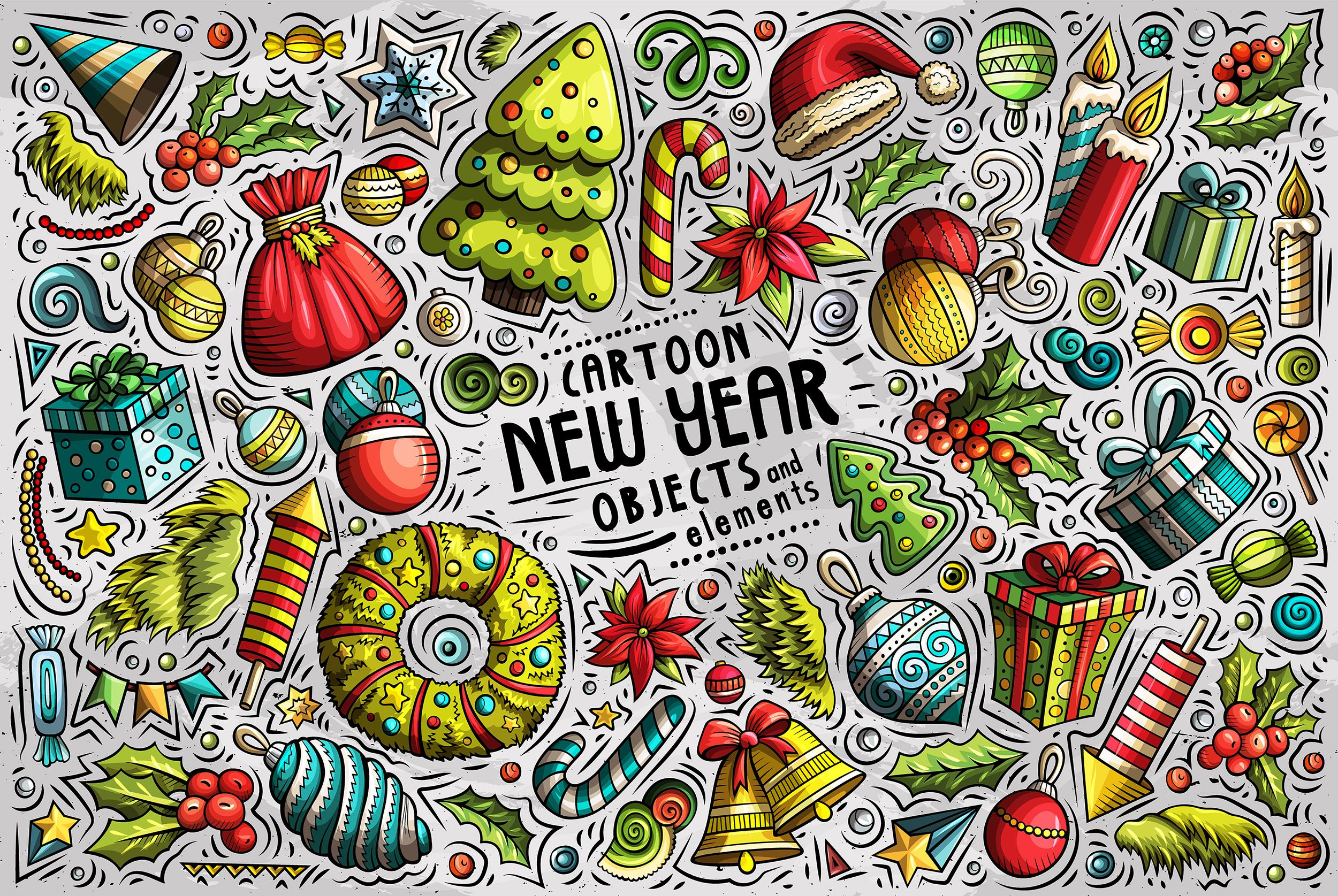 New Year Cartoon Objects Set example image 1