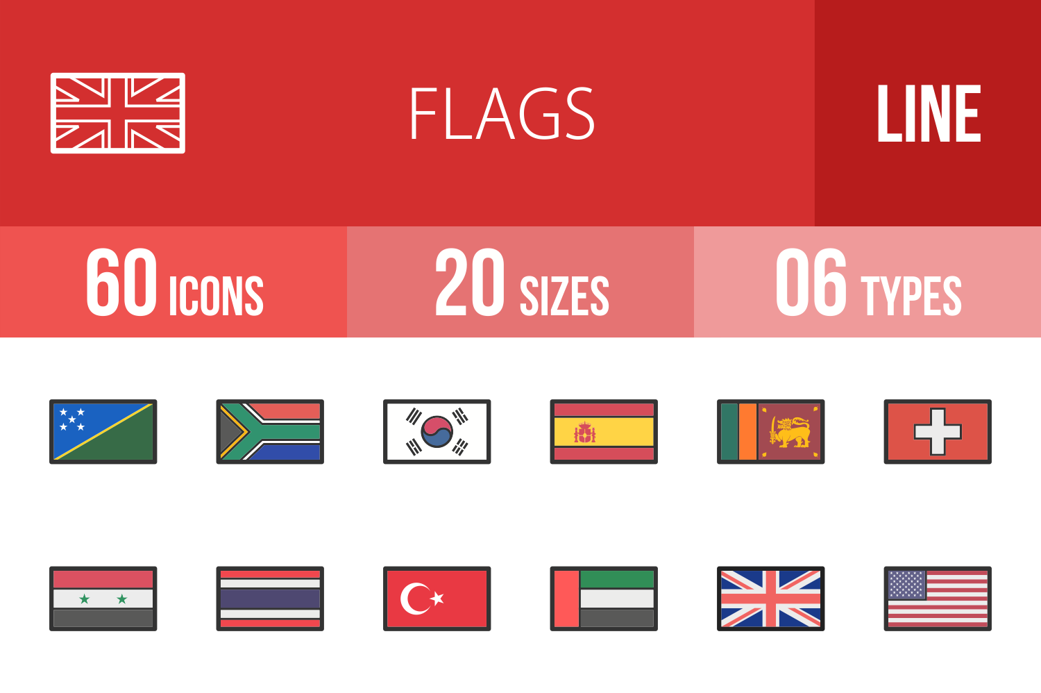 60 Flags Linear Multicolor Icons example image 1