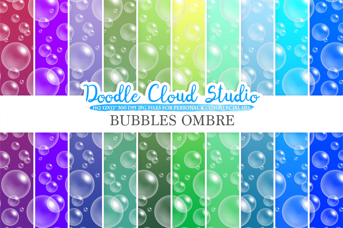 10 Ombre Soap Bubbles digital paper, Blue colors, Bubbles pattern, Green Gradient backgrounds, Instant Download, Personal & Commercial Use example image 1
