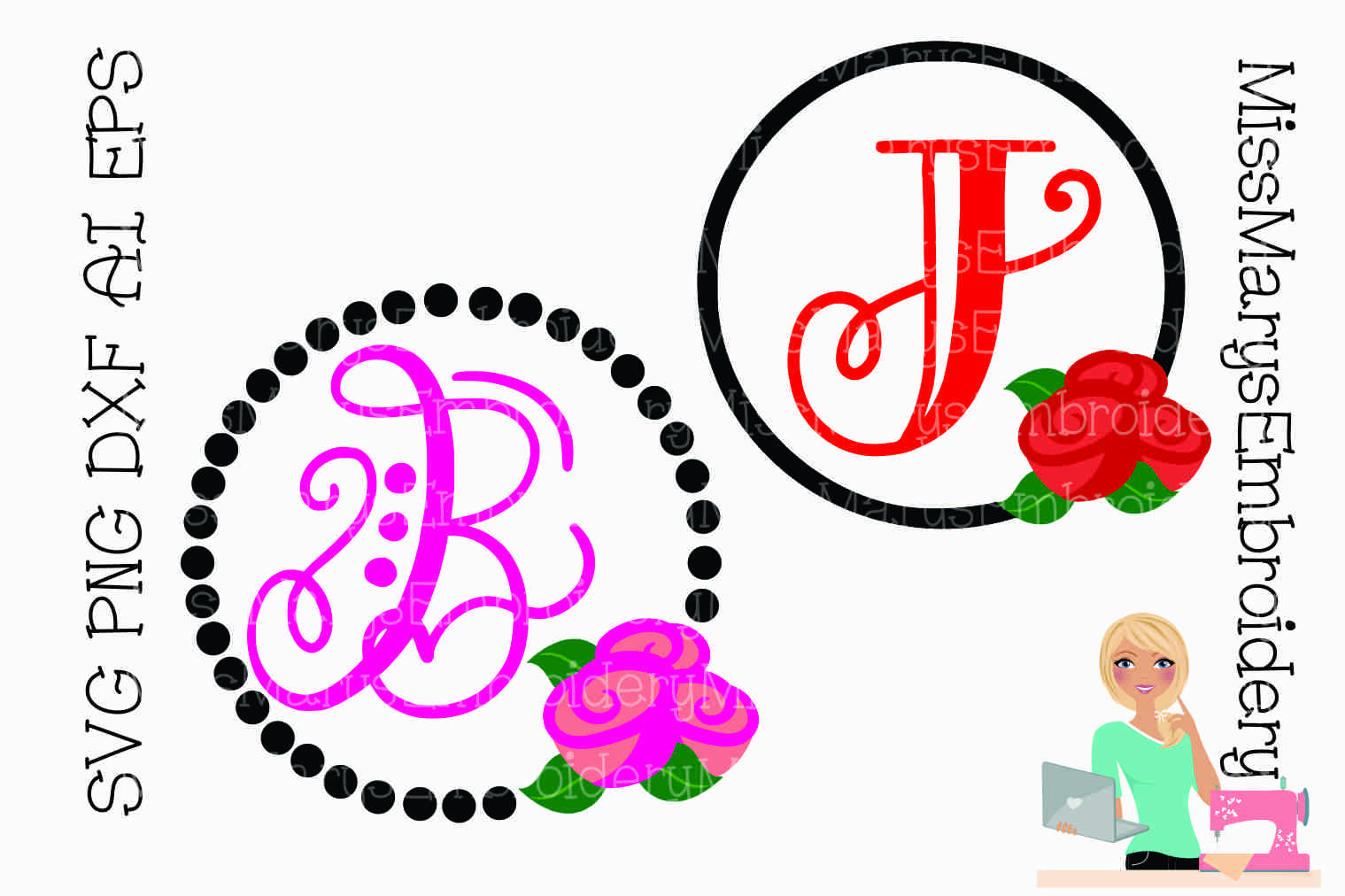 Rose Monogram SVG Cutting File PNG DXF AI EPS example image 1