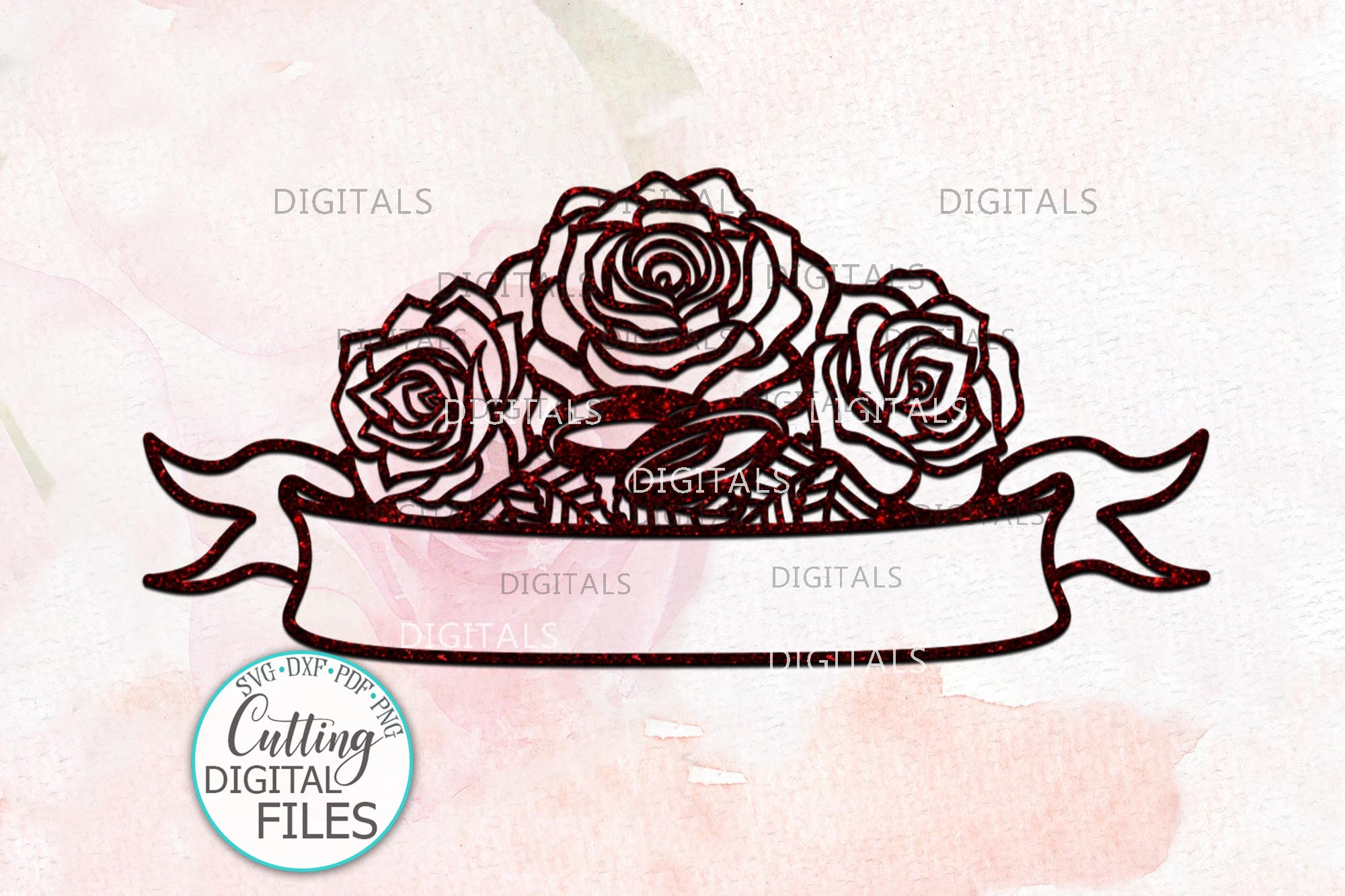 Wedding roses with rings banner for names svg dxf laser cut example image 2