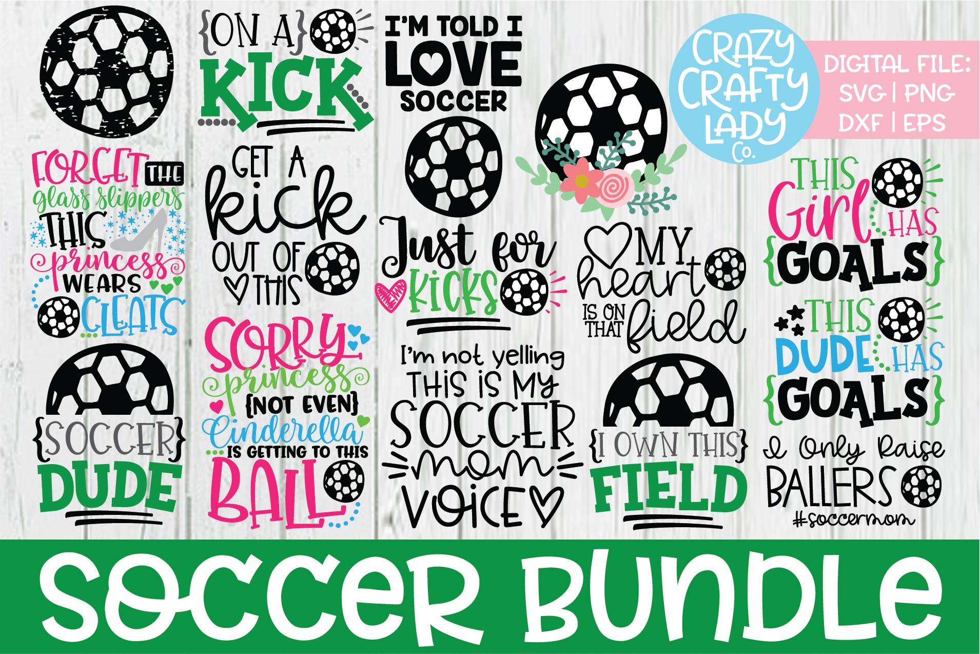 Soccer SVG DXF EPS PNG Cut File Bundle example image 1