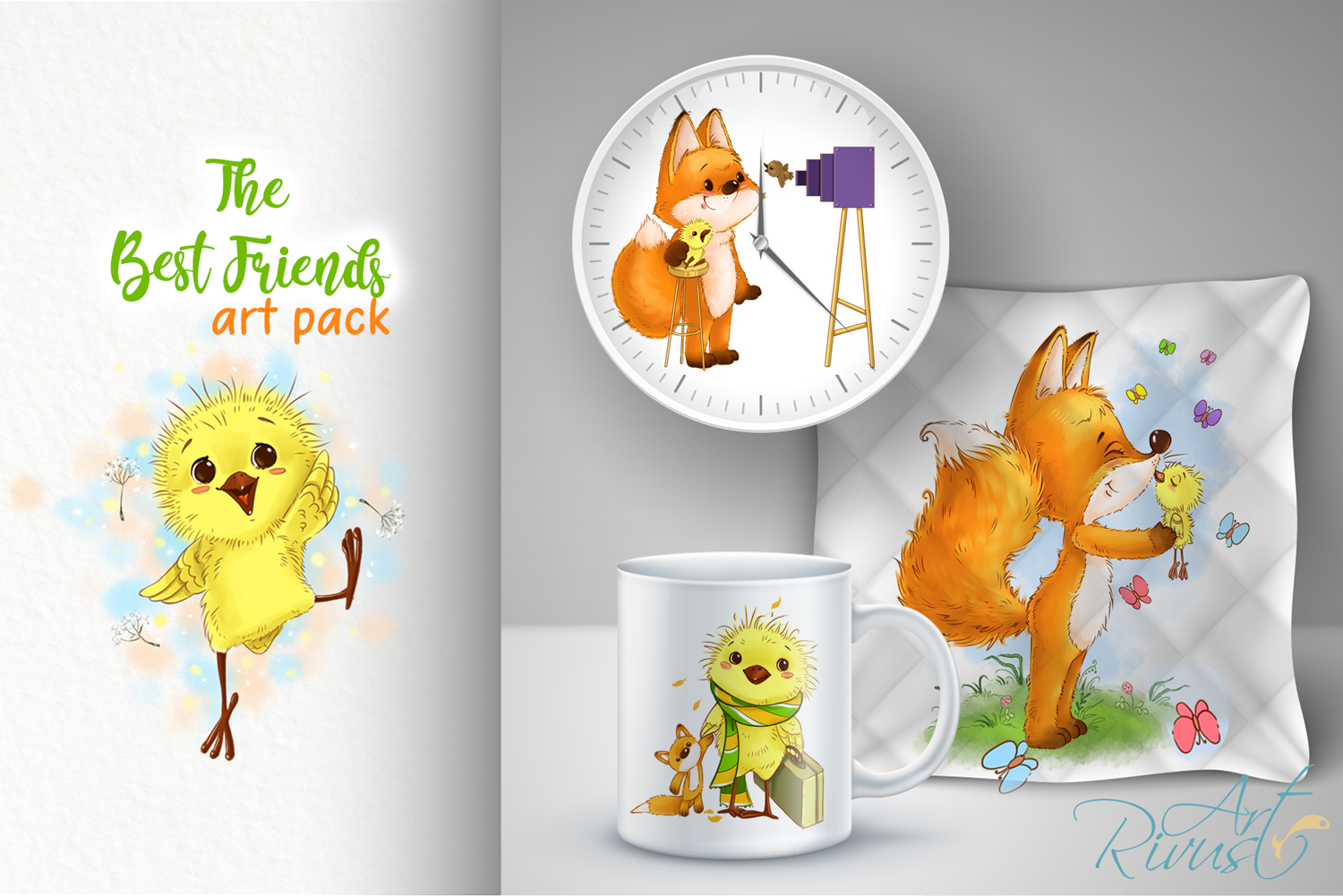 Fox and chick PNG clipart. The best friend graphic art. example image 7