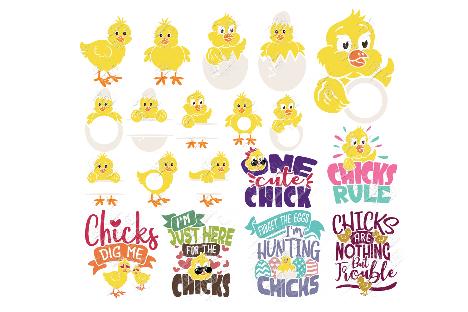 Easter Chick SVG Monogram Quotes in SVG, DXF, PNG, EPS, JPEG example image 1