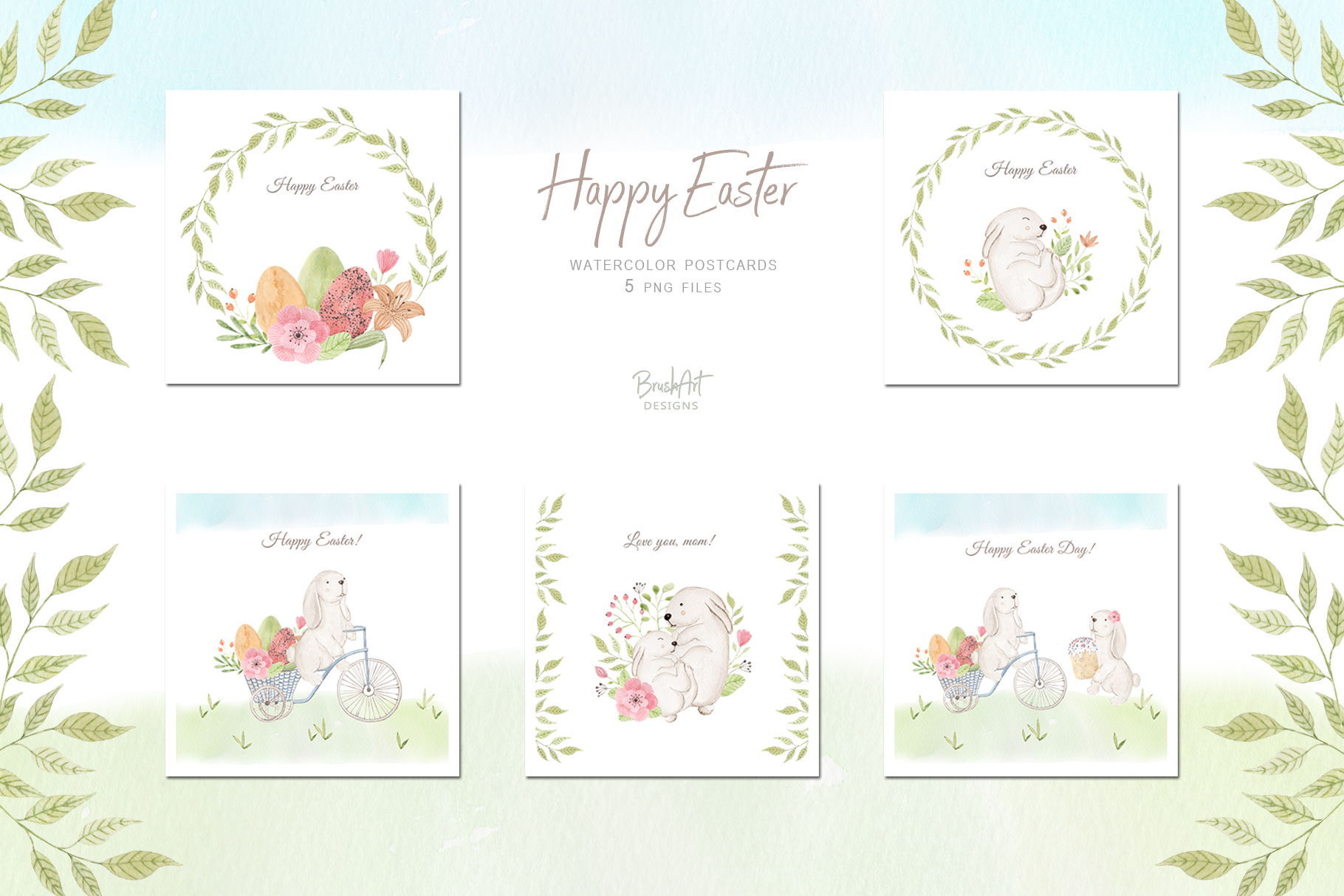 Happy Easter. Watercolor clipart. example image 7