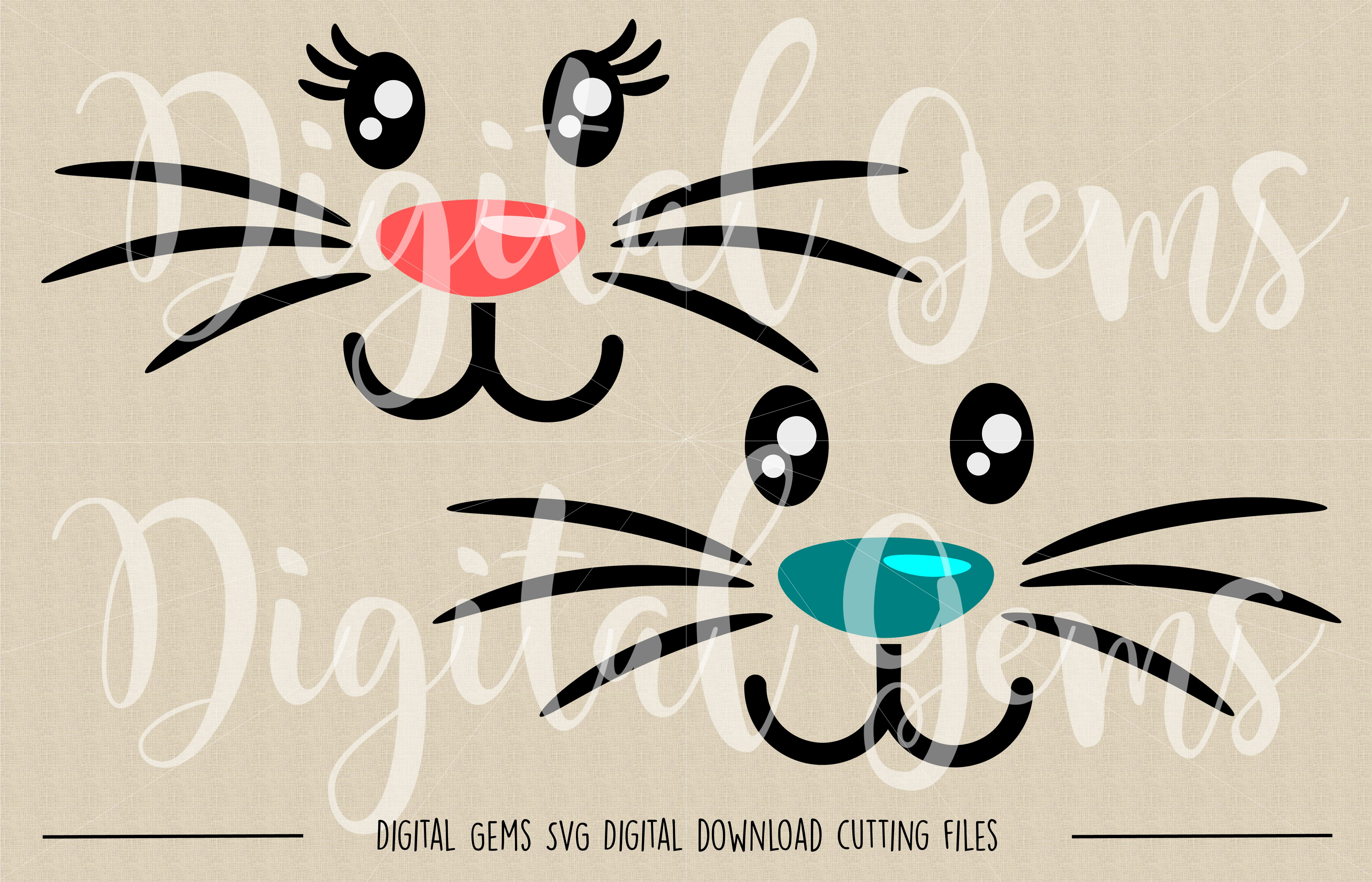 Rabbit Faces SVG / PNG Files example image 2