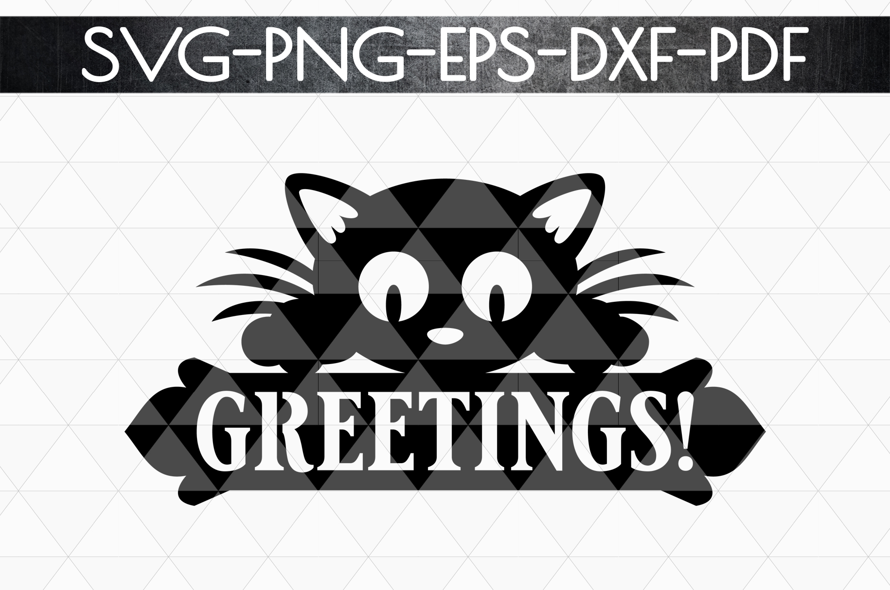 Greetings Sign Papercut Template, Cat House Decor, SVG, DXF example image 4