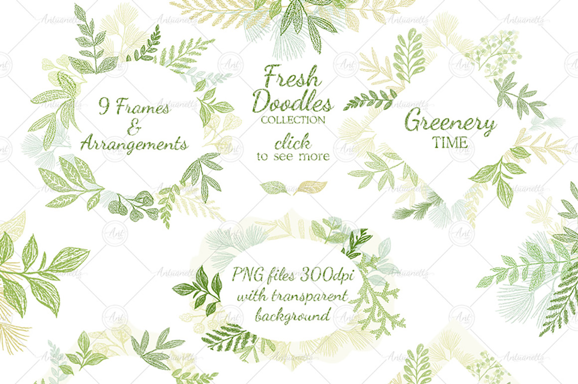 Leaves Branches & Herbs frames. Fresh Doodle collection example image 1