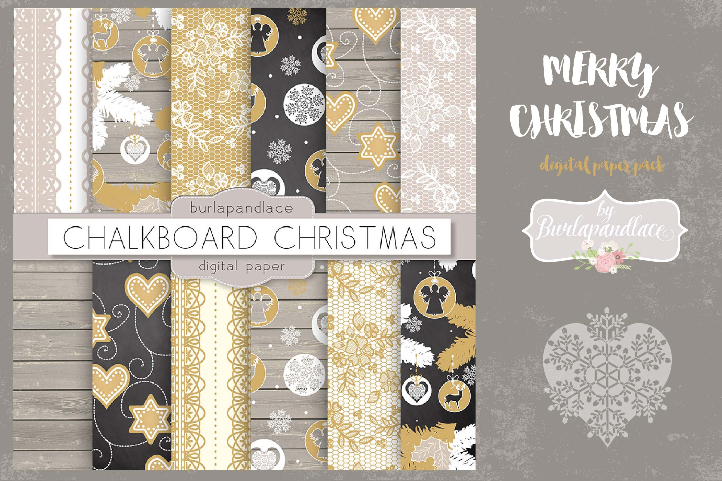 Merry Christmas digital paper pack example image 1