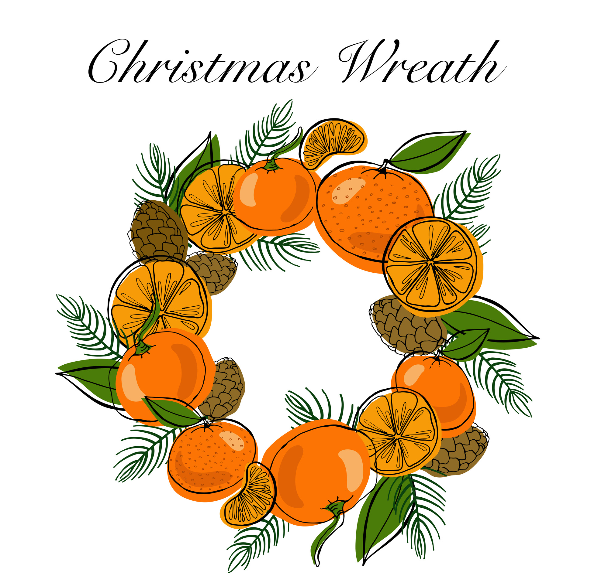 Tangerines Christmas Vector Clipart example image 3