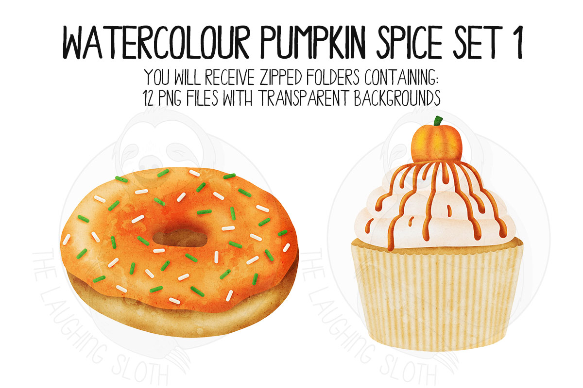 Watercolor Pumpkin Spice Clip Art Set 1 example image 2
