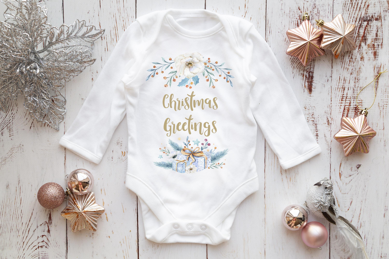Long Sleeve Onsie, Infant bodysuit Mockup, rose gold & silve example image 3