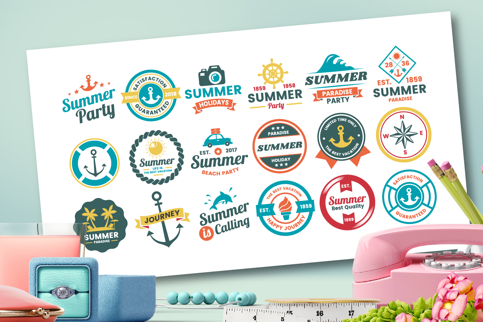 63 SUMMER VINTAGE BADGE & RIBBON example image 5