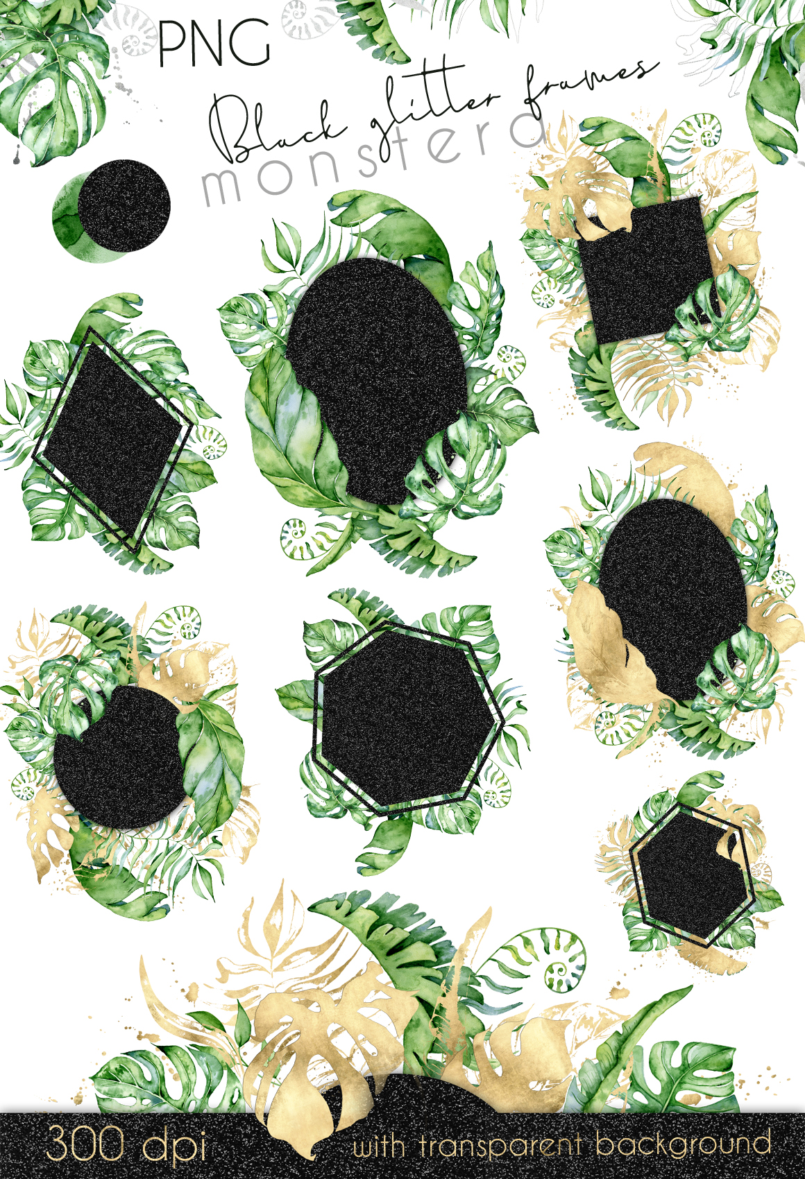 44 Tropical watercolor Frames - Gold, Silver, Black glitter example image 3