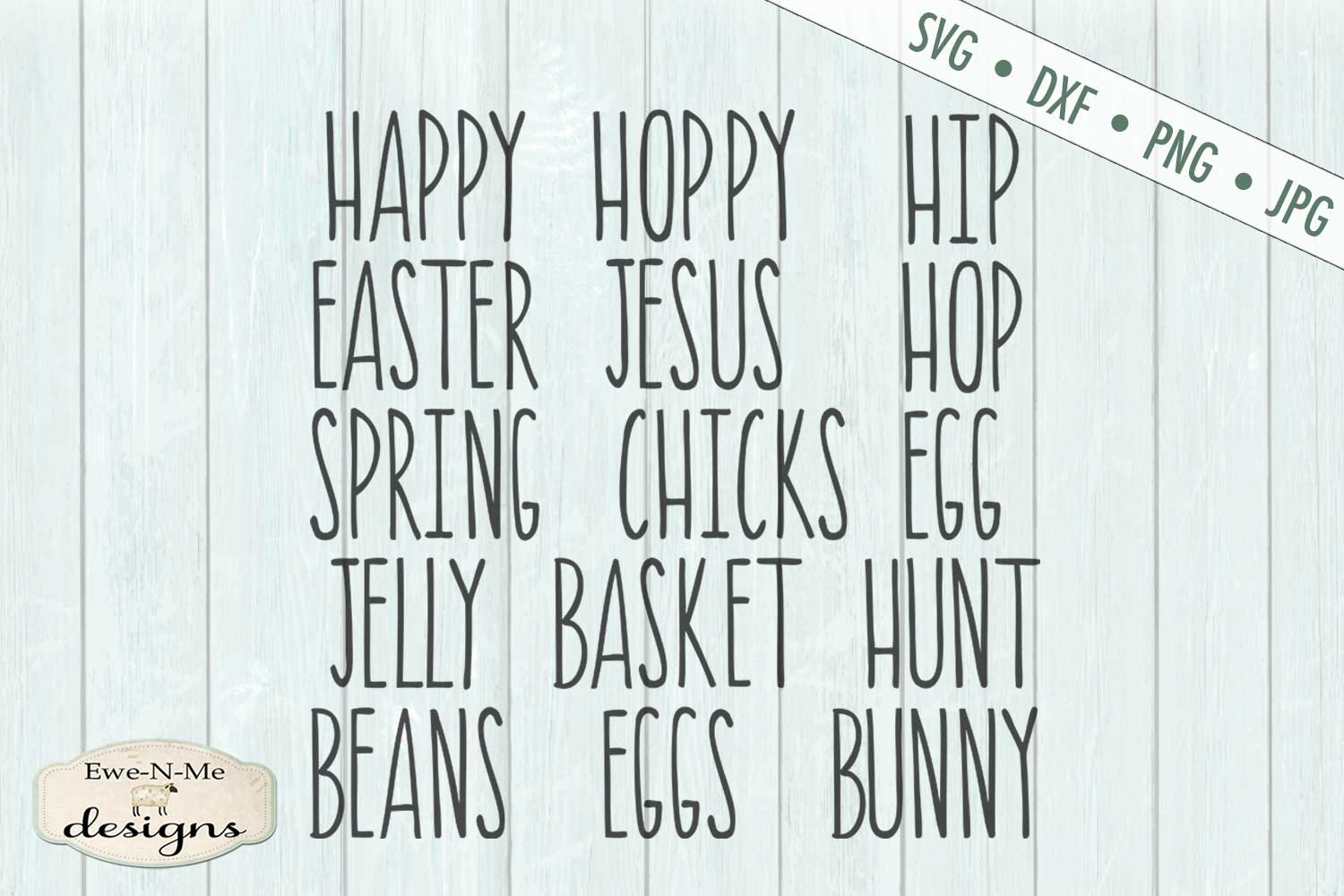 Thin Line Easter Word Bundle Rae Dunn Inspired SVG DXF example image 2